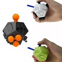 Fidget Cube 12 Side Sided Desk Toy Stress Anxiety Relief Focus Puzzle Adult KD.