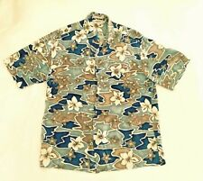 Campia Moda Men's Vintage Hawaiian Shirt Size Large blue/green/brown/cream Rayon