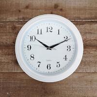 Vintage White Round Wall Clock Quartz Analogue Plastic Time Piece 26cm Easy Read