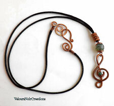 Collana chiave di violino in rame martellato pietre dure agata handmade musica