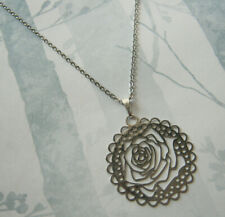 "Rose Metal Pendant Necklace Flat Elegant Hollow Silver Tone Jewellery 16"" Gift"