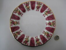"ROYAL ALBERT ENGLAND OLD COUNTRY ROSES RUBY CELEBRATION DAMASK 8""  DESSERT PLATE"