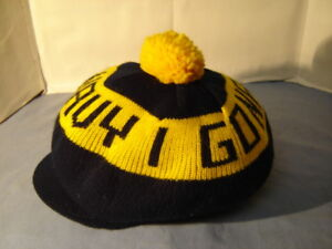 Vintage I Go Navy Cap Hat Winter Poof Ball Hat