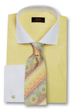 Dress Shirt Only by Steven Land Classic Fit French Cuff- Yellow -DW1730-YE