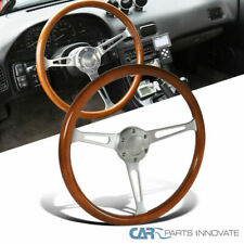 380MM/15inch Aluminum Spokes Vintage Classic Wooden Wood Grain Steering Wheel