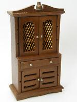 Vintage Wood China Cupboard Cabinet Brass Mesh Wire Dollhouse Furniture NIB