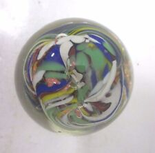 "Small Blown Glass Paperweight - Multi Color Swirl - 3"" Diameter 2 1/2"" Tall"