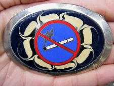Vtg No Smoking Sign Belt Buckle Stop Tobacco Dont Smoker Quit Butts Rare Vg+