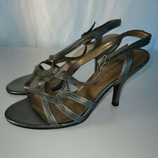 Bellini Strappy Leather Bronze Open Toe High Spiked Heel Sandals Size 7M Womens