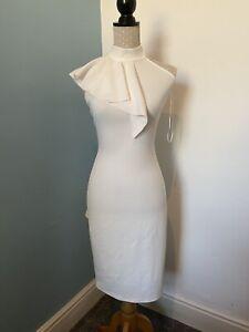 Christmas Dress SIZE 14 White halter neck.  Ladies White Dress. Body Con Dress.