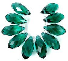 20x9mm Emerald Glass Quart Faceted Teardrop Beads (10)