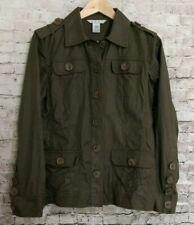 CAbi Military Ambush Jacket Drab Green Cotton Linen Blend 4 Pocket Style #493 Sm
