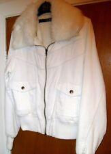 Women's White jean, Bomber jacket.White fur collar. Sz;12. Unworn ?