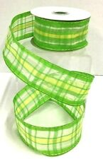 """Sheer Check Wired Ribbon~Green, Yellow, White~1 1/2"""" W x 10 Yards"""