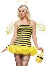 Leg Avenue Honey Bee Costume Tutu Mini Dress Wings Stripey M/L 10 12 yellow Buzz