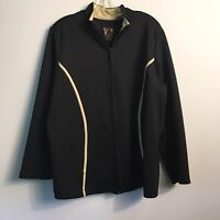 AVX Woman's Zip UP Jacket Pockets Black Polyester Spandex Size 18/20
