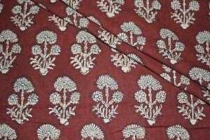 Dark Brown 100% Cotton Ikat Batik Hand Block Printed Dress Material Craft Fabric