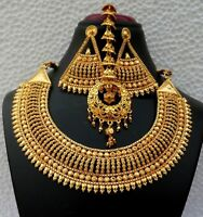 Gold Plated Light Weight Indian Wedding Necklace Earrings Bridal party Set h