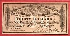 1864 $30 Us Confederate States of America! Genuine! Choice Crisp Xf! Old Us!