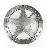 Womens Mens Vintage Silver Texas Ranger Sheriff Star Western Cowboy Belt Buckle