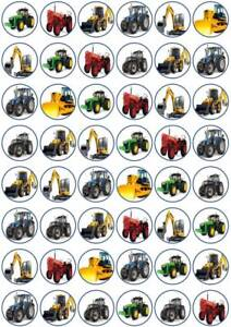 48 x 3cm Diggers & Tractors Edible Wafer Paper Cupcake/Fairy Cake Toppers