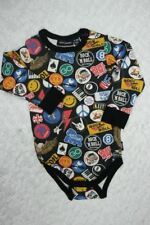 ROCK YOUR BABY black vintage patches romper one piece size 12-18 months NWOT