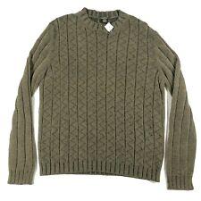 Ermenegildo Zegna Mens L 52 Wool Silk Blend Green Ribbed Crew Neck Sweater NWT
