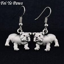 Stunning Pair silver tone English Bulldog Dog earrings. Must see. In organza bag