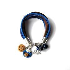 Leather Strap Charm Statement Cookie Monster Blue Brown Retro Bracelet Gift Idea