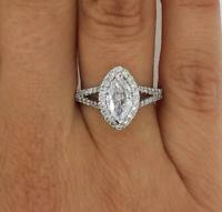 2.1 Carat Marquise Cut Diamond Engagement Ring VS2/F White Gold 18k 6279