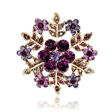 Delicate Snowflake Flower Brooch Pin Purple Crystal Rhinestone Wedding Broach