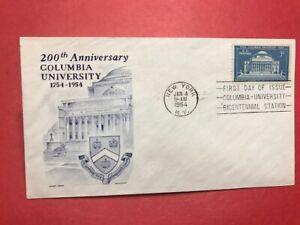 #1029 FDC 1954 Cachet Craft M117 Columbia University