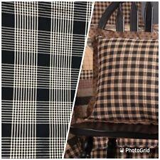 NEW Designer 100% Silk Taffeta Gingham Plaid Tartan Fabric- Black Beige