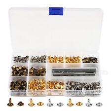 210 Set 2 Sizes Leather Rivets Double Cap Rivet Tubular Metal Studs Tool Kit