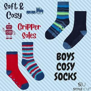 Boys Kids 2 Pack Warm Thick Cosy Bed Socks Non Slip Winter Grippers Comfortable