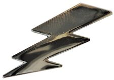 Lightning Bolt Strike Electric Shock Flash Chrome Metal Badge 30mm