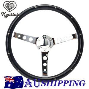 380mm Universal Polished Spoke Deep Dish Wooden Steering Wheel With Rivet 15''