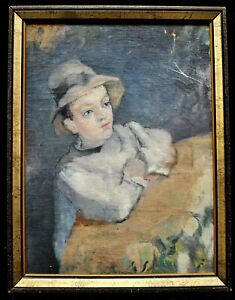 EARLY 20th CENTURY FRENCH IMPRESSIONIST OIL PORTRAIT OF A BOY ANTIQUE PAINTING