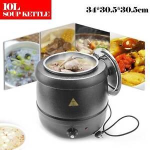 10L 400W Black Electric Food Soup Warmer Heater Kettle Pot Urn Kitchen Catering