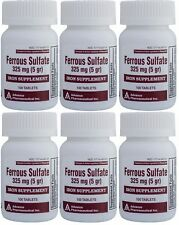 Ferrous Sulfate Iron 325 mg Generic for Feosol 100 Tablets per Bottle Pack of 6
