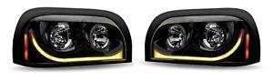 Freightliner Century Headlight (SET) w/ Amber LED Strip