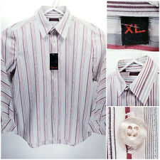 NWT 7 Diamonds Mens XL Shirt Long Sleeve Button Up White Pink Red Striped