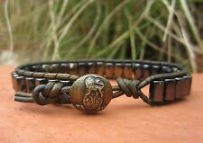 Handmade Mens Magnetic Military GreenLeather Multi Color Black & Pyrite Lion