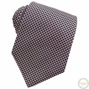 Turnbull & Asser Pink Blue 100% Silk Houndstooth Glossy Handmade Tipped Tie
