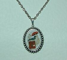 BLUE BIRD CAMEO DARK SILVER PLATED PENDANT WITH RED TOADSTOOL ON WHITE GROUND