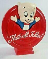 1989 Vintage Looney Tunes Ceramic Coin Bank Warner Bros Porky That's all Folks