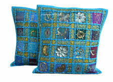 Set Of 2 Indian Handmade 16X16 zari Cotton Hippie Cushion Cover Homedecor FC