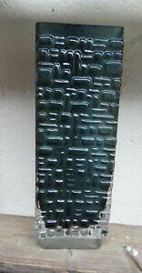 Gral Glas Blockvase Vase blau- grau Kristallglas 70er Jahre Design Emil Funke