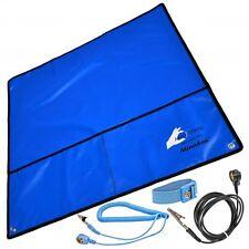 Minadax® Antistatik-Set: Antistatikmatte blau, Handgelenksschlaufe, Erdungskabel