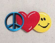 Peace Love Happiness Smiley Face Emoji - Iron on Applique/Embroidered Patch